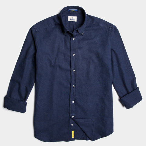 Regular dark blue soft cotton button down