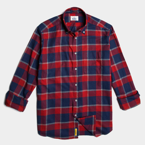 Regular red check linen button down