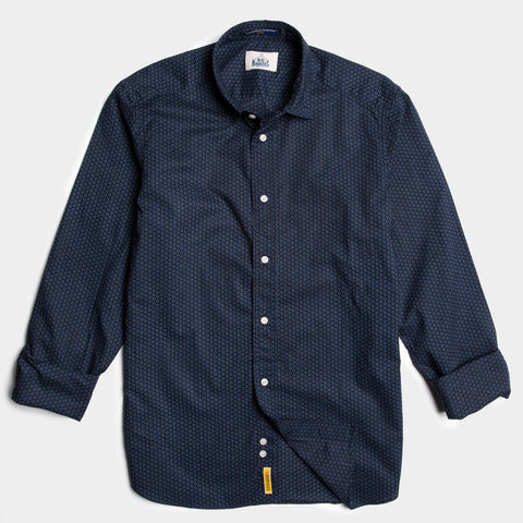 Slim indigo/red dot pattern linen button down