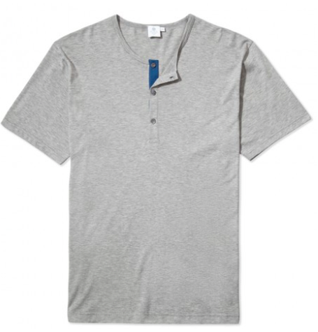 Grey Crew Neck Button T-Shirt