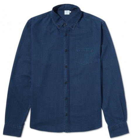 Button Down Washed Indigo Twill Shirt