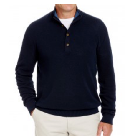 Navy Button Mock Jumper
