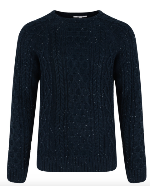 Navy Cable Jumper with Nep
