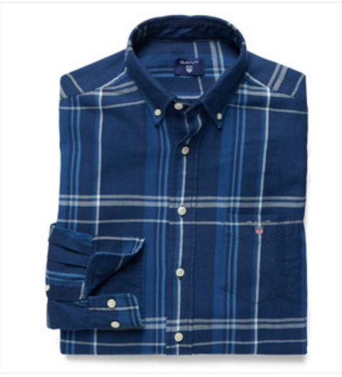 Indigo Linen Check Button Down Shirt