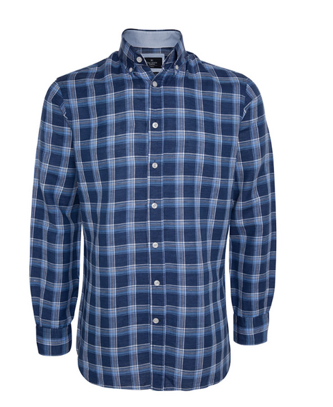 Blue Monaco Cotton/Linen Check Shirt