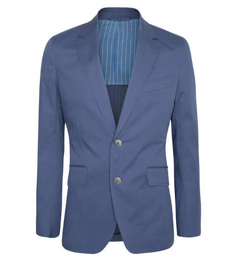 Blue Stretch Cotton Blazer