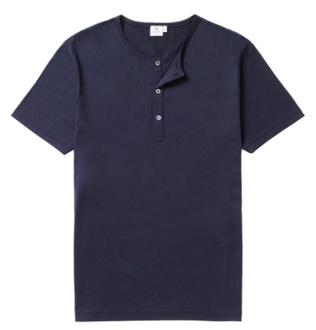 Navy Crew Neck Button T-Shirt