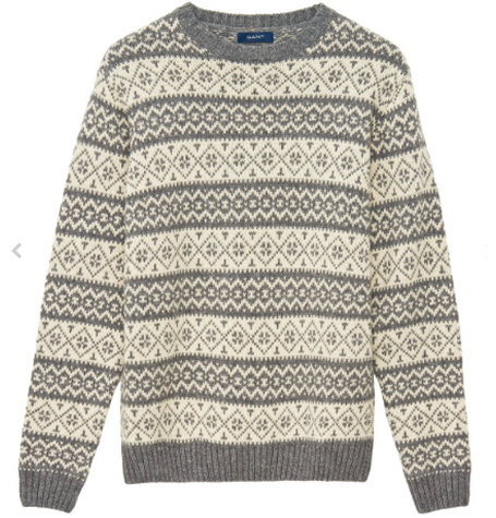 Cream & Grey Pattern Jumper