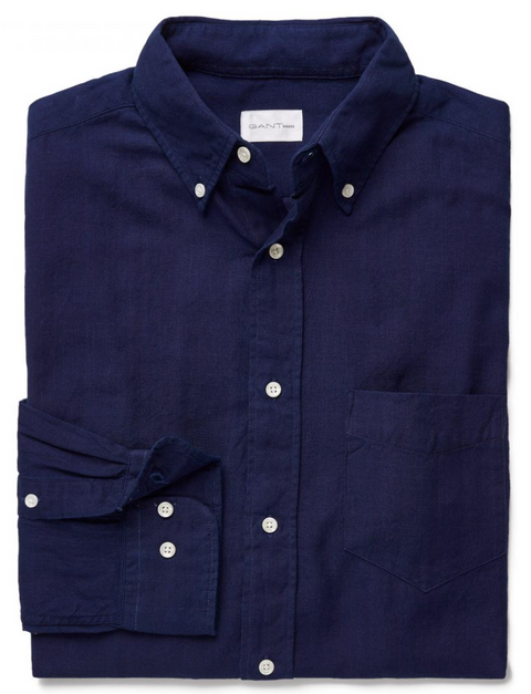 Evening Blue Solid Cotton Shirt
