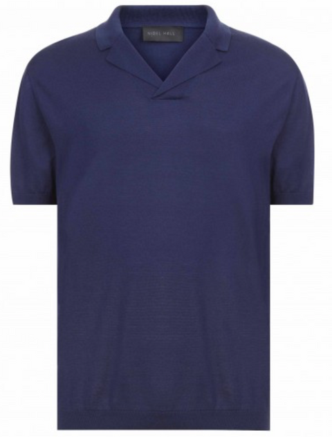 Navy SS Cuban Collar Polo