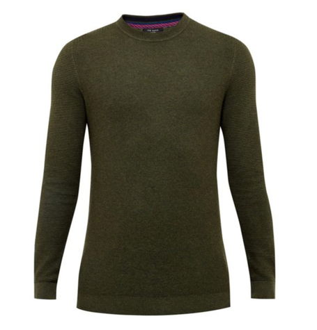 Khaki Stitch Detail Crew Neck