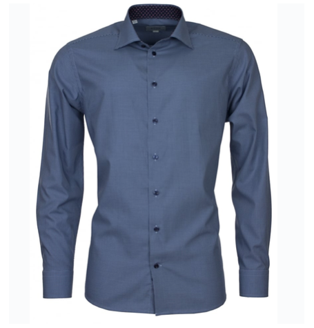 Mini Check Blue Shirt with Cutaway Collar