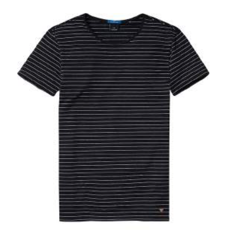 Black Fine Stripe Tee