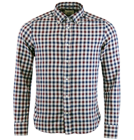 Red Grey Herringbone Check Shirt