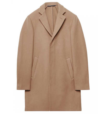 Dark Camel Wool Cashmere Coat