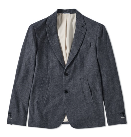 Black Navy Cotton Twill Blazer