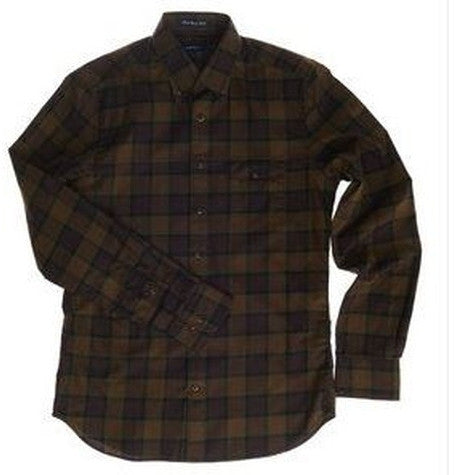Dark Brown Twill Check Shirt