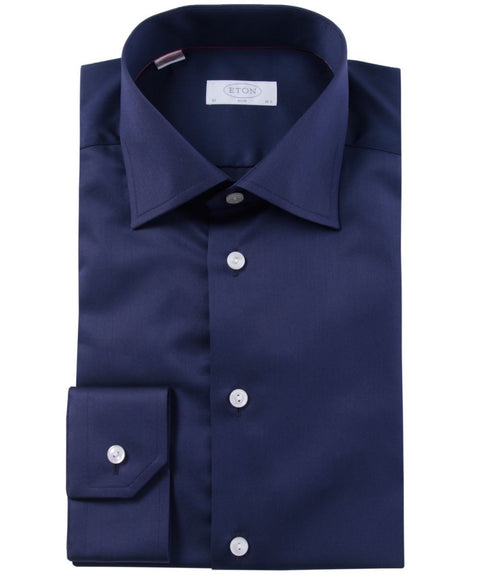 Navy Slim Cut Away Shirt