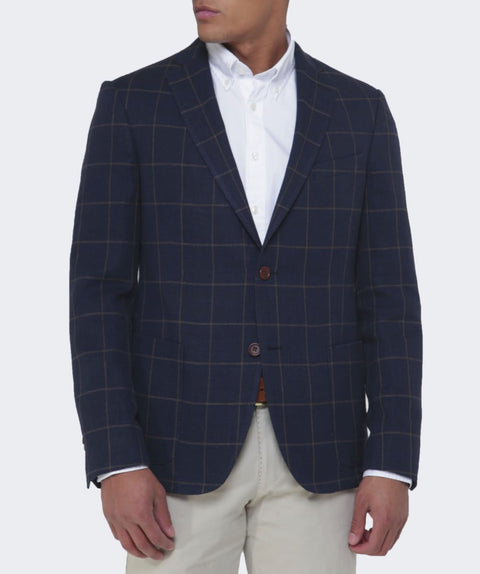Longline Windowpane Blazer Navy