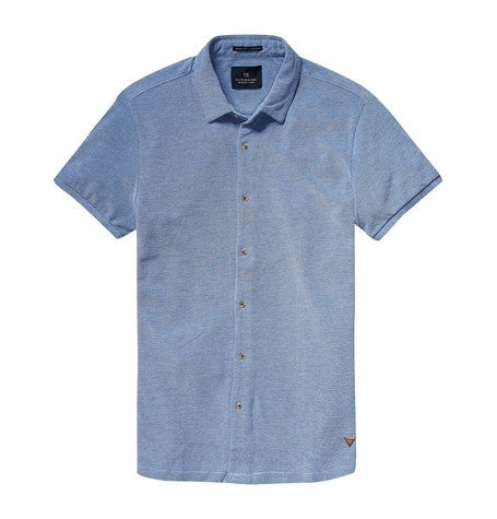 Blue Short Sleeved Pique Shirt