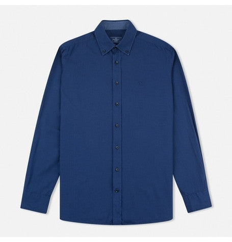Blue garment dyed oxford shirt