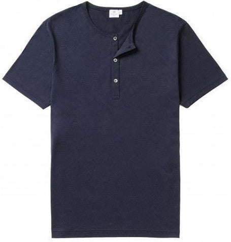 Henley Navy Crew Neck T-Shirt