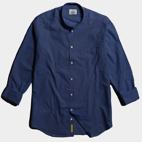 Grandad Collar Regular Navy Linen  Shirt