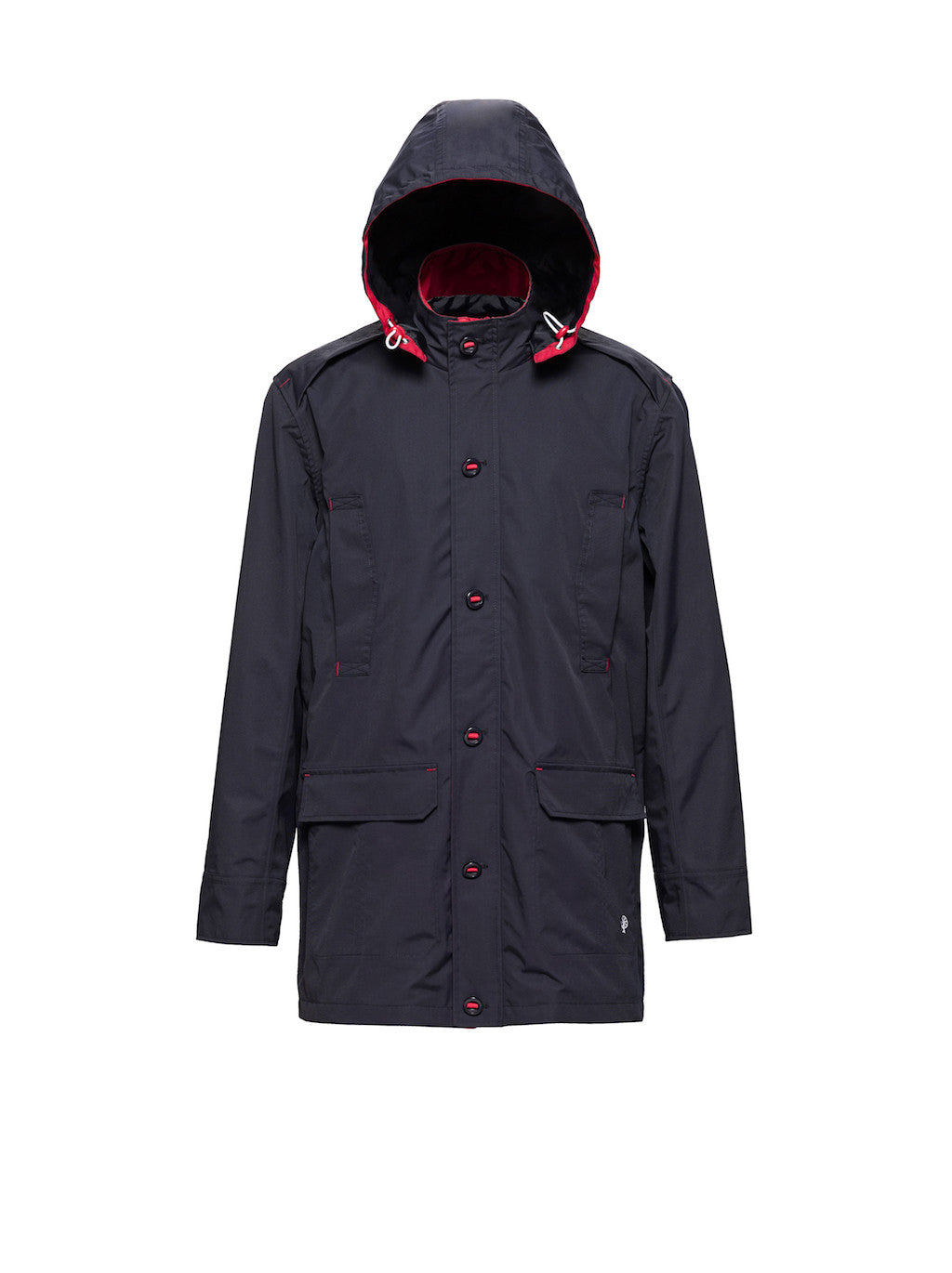Millstrand Co. Bruyn All-Weather Jacket in Navy, Brick Red Trims