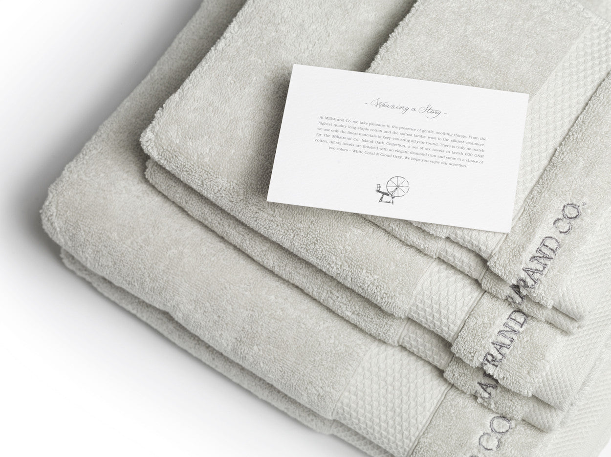 Millstrand Co. Island Bath Collection – Set of Six Towels in Cloud Grey, 600 GSM, 100% Premium Low-Twisted Cotton