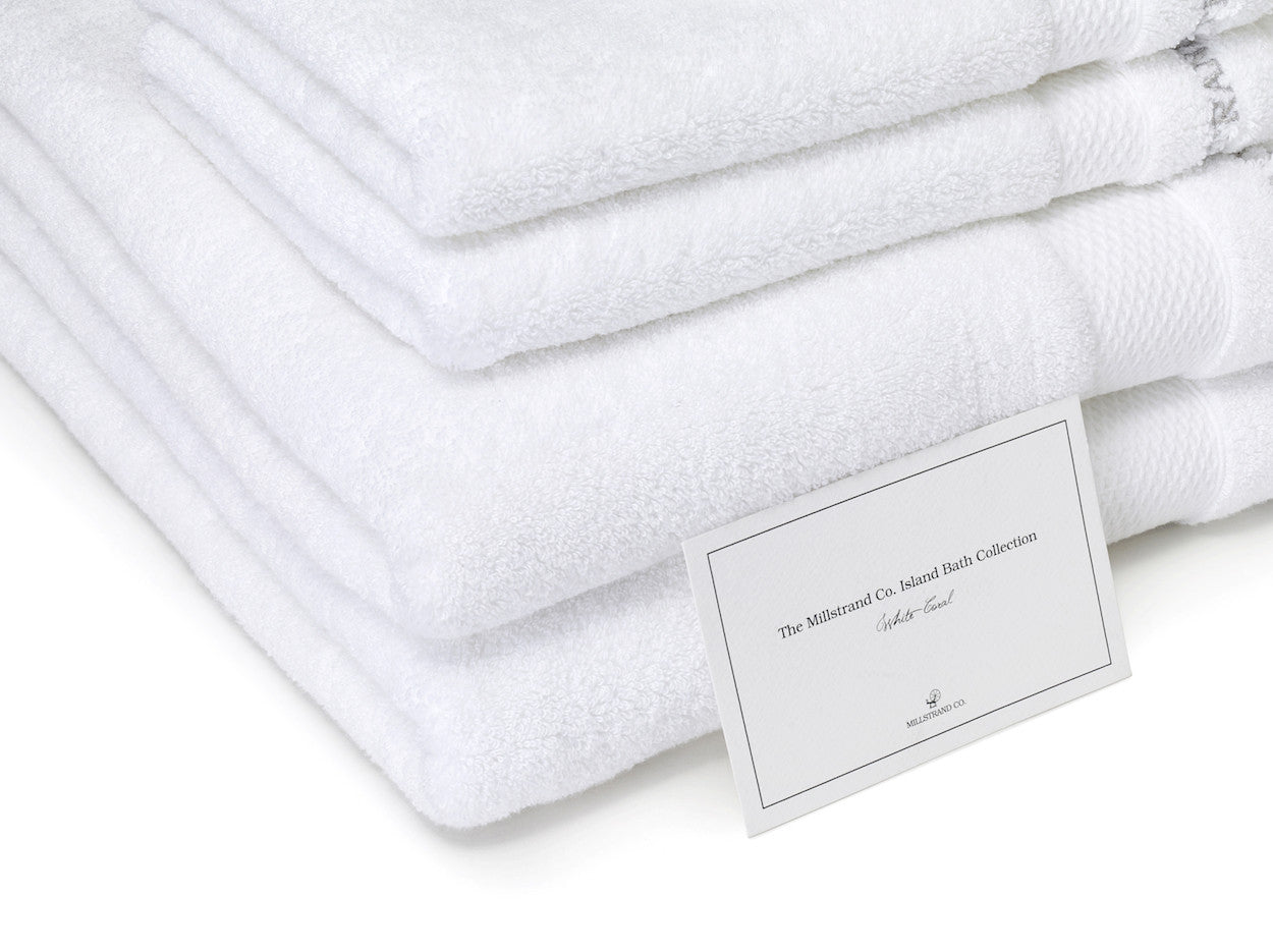 Millstrand Co. Island Bath Collection – Set of Six Towels in White Coral, 600 GSM, 100% Premium Low-Twisted Cotton