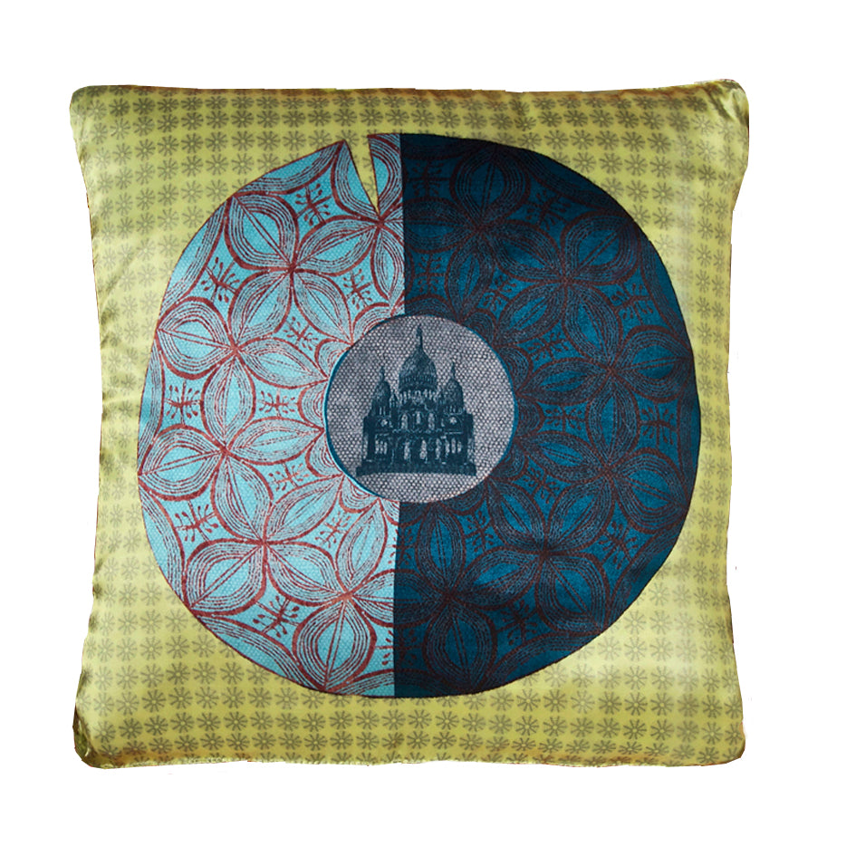 Yellow Sacre Coeur Cushion