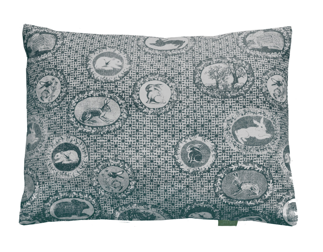 patterned cotton cushion,bunnies and rabbits printed in slate grey,a twist on Toile de jouy,English designer based in Norfolk.Pattern lovers choice.