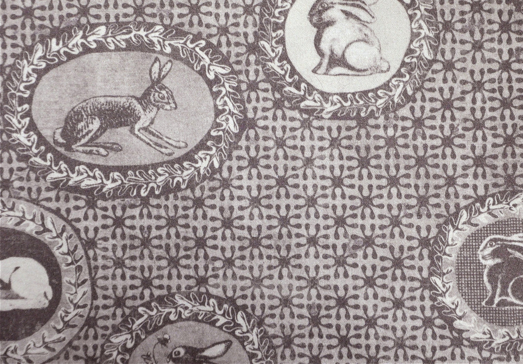 Toile de Jouy style fabric,with rabbits and bunnies printed,classic style independent designer,textiles,patterns by the metre.