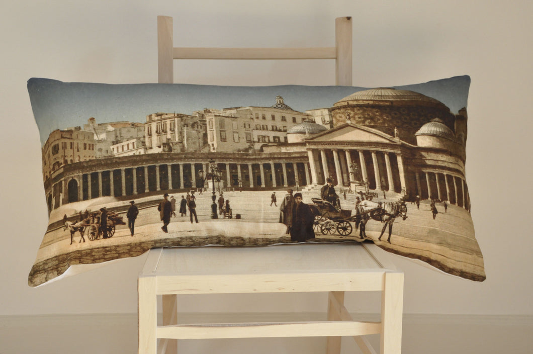 Postcard panorama of old Naples digital print hand made linen cushion from Original Little Bird.
