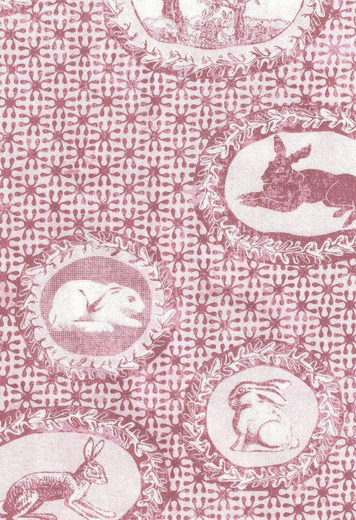 Toile de Jouy style fabric,faded red.with rabbits and bunnies printed,classic style independent designer,textiles,patterns by the metre.