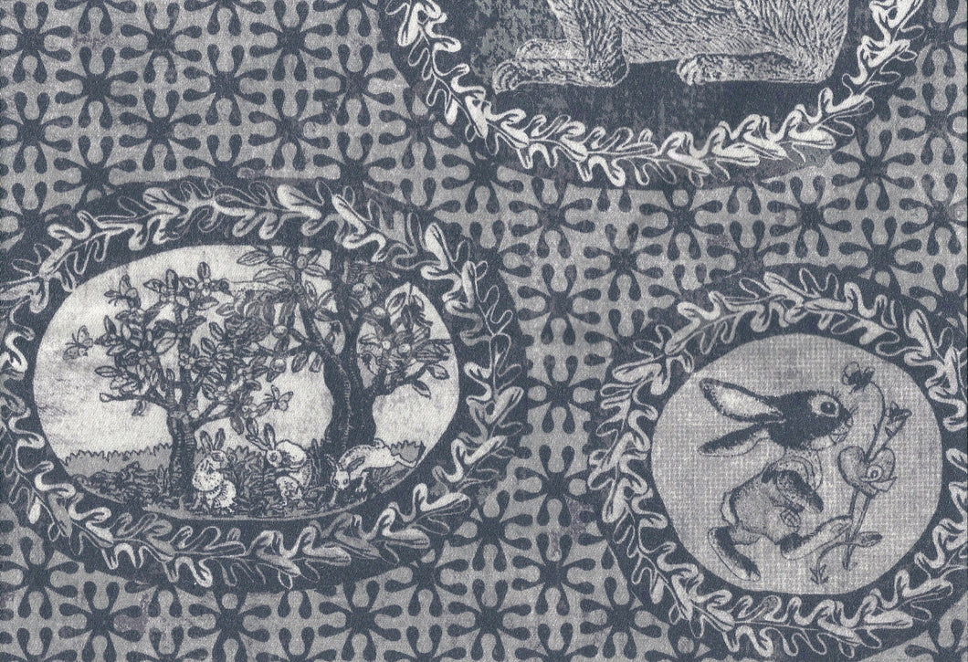 Toile de Jouy style fabric,with rabbits and bunnies printed slate grey colour,classic style independent designer,textiles,patterns by the metre.
