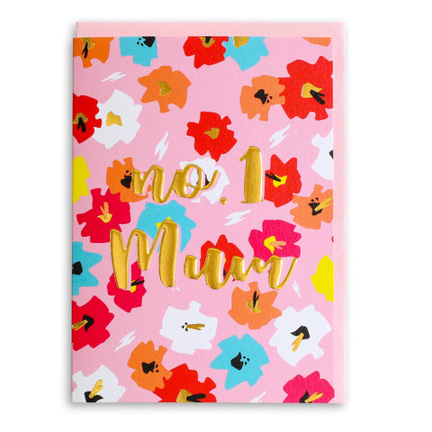 No. 1 Mum Pink Floral | Greeting Card