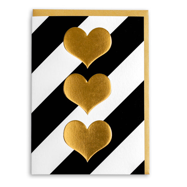 Gold Hearts | Greeting Card