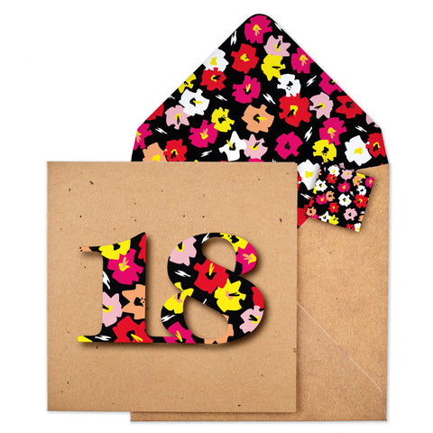 18th Flower Birthday Card