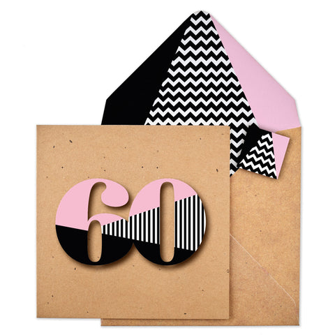 60th Stripey Zig Zag Birthday Card