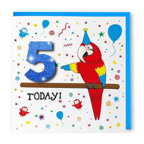 Age 5 Parrot | Birthday Card