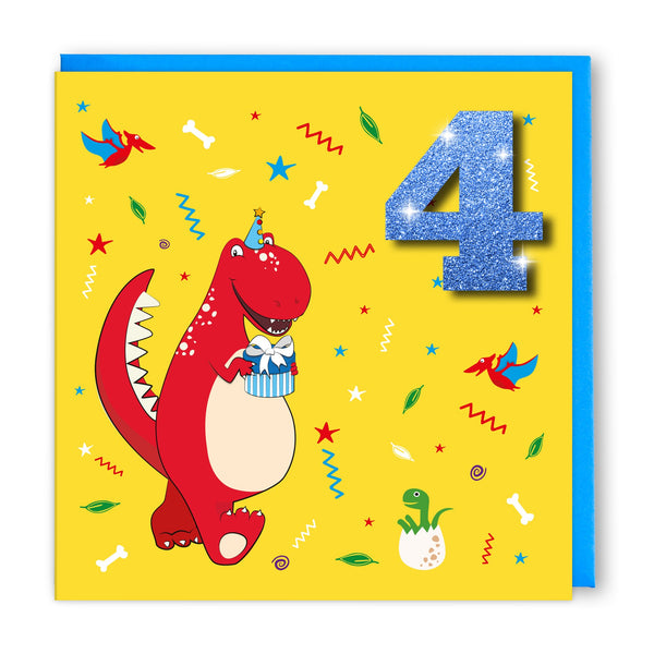 Age 4 Red Dinosaur | Birthday Card