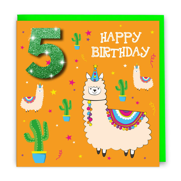Age 5 Happy Birthday Llama | Birthday Card