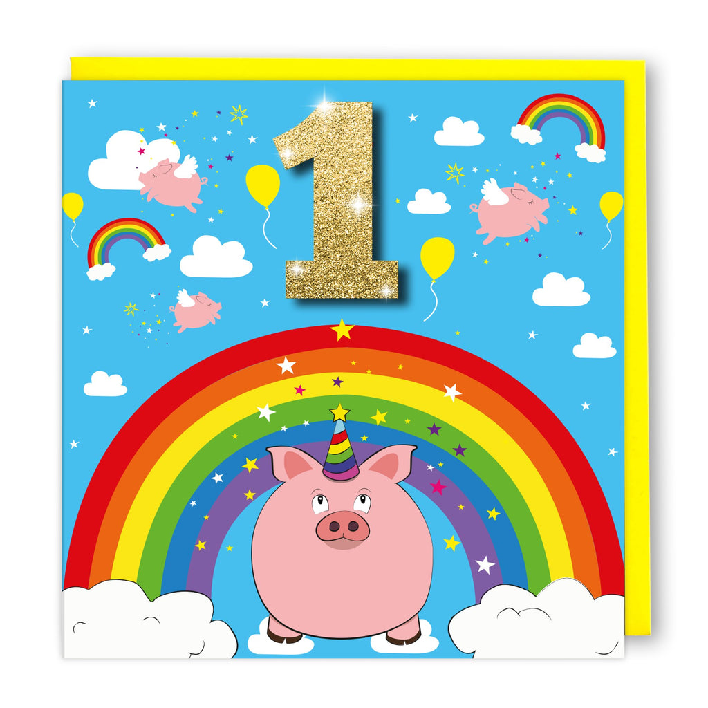 Age 1 Rainbow Pig | Birthday Card