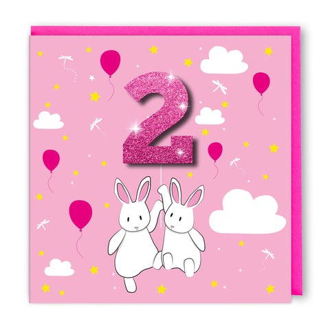 Age 2 Pink Rabbits | Birthday Card