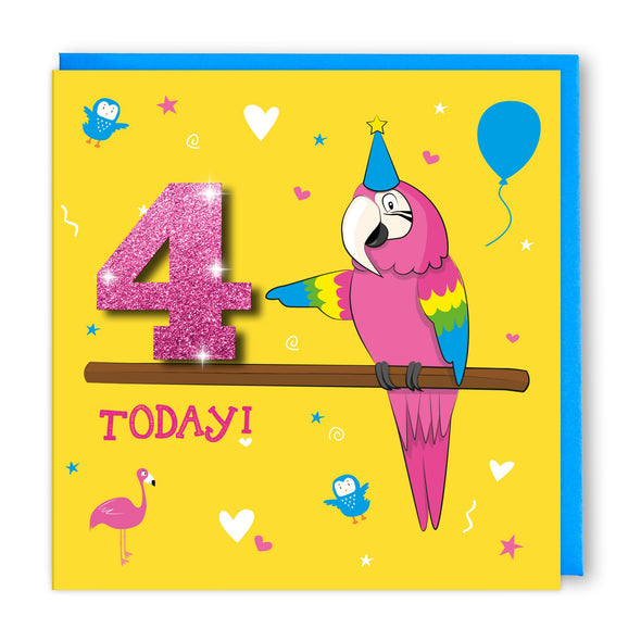 Age 4 Pink Parrot | Birthday Card