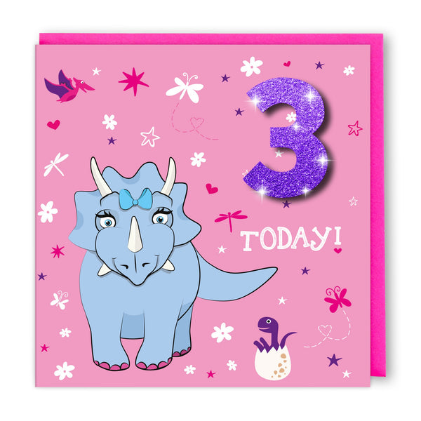 Age 3 Girl Dinosaur | Birthday Card