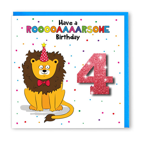 Age 4 Lion | Birthday Card