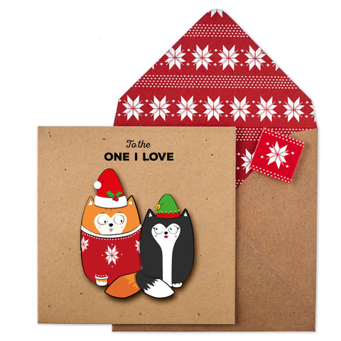 To The One I Love Christmas Couple Cats | Christmas Card