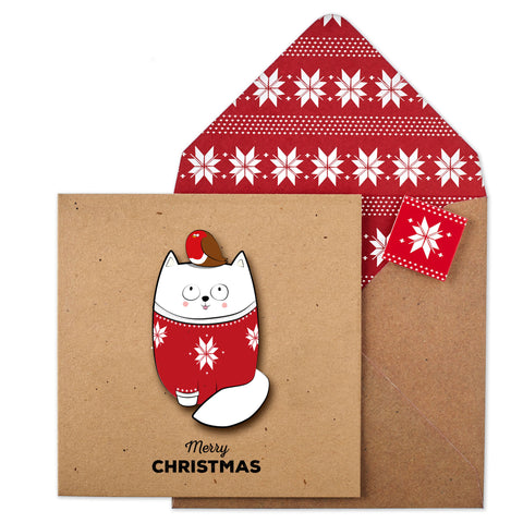 White Cat and Christmas Robin | Christmas Card